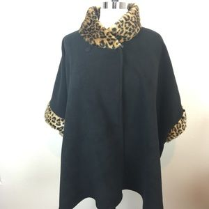 Gorgeous Fleece and Faux Leopard Poncho One Size